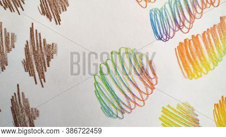 Artistic Stroke. Multicolor Art Drawing. Cute Wallpaper. Abstract Scribble. Rainbow Artistic Stroke.