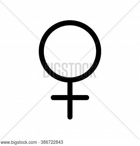 Venus Planet Symbol. Vector Sign. Astrological Calendar. Zodiacal Black And White Horoscope. Outline