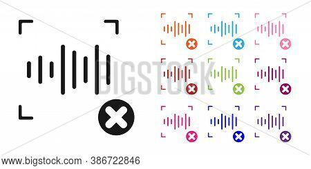 Black Rejection Voice Recognition Icon Isolated On White Background. Voice Biometric Access Authenti