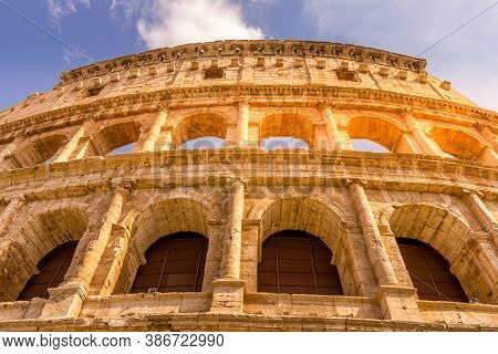 View Of The Colosseum During A Sunset, Rome, Italy