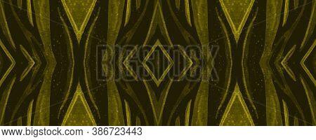 Seamless Safari Background. Abstract Cheetah Texture. Gold Animal Skin Design. Watercolour Lines. Ti