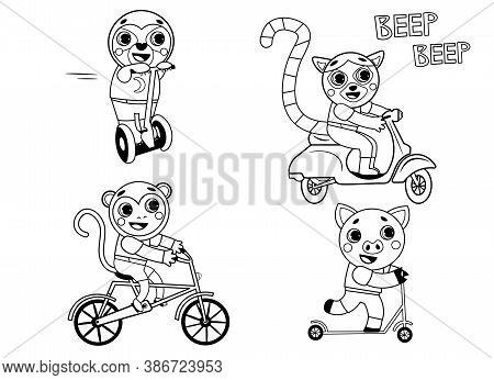 Funny Coloring Kids Transport Set With Animals. Bicycle, Motorbike, Scooter, Self-balancing Scooter