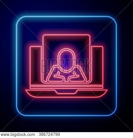 Glowing Neon Online Psychological Counseling Distance Icon Isolated On Blue Background. Psychotherap
