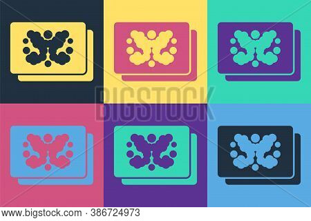 Pop Art Rorschach Test Icon Isolated On Color Background. Psycho Diagnostic Inkblot Test Rorschach.
