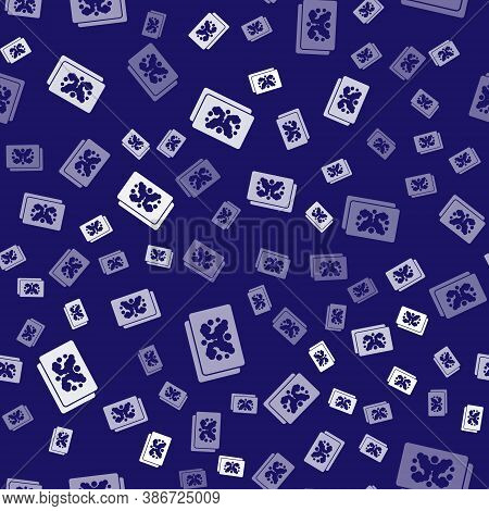 White Rorschach Test Icon Isolated Seamless Pattern On Blue Background. Psycho Diagnostic Inkblot Te