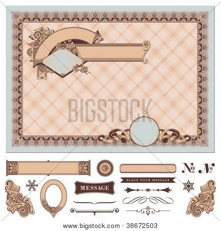 retro certificate or coupon - banners and floral decoration are separate elements and removable