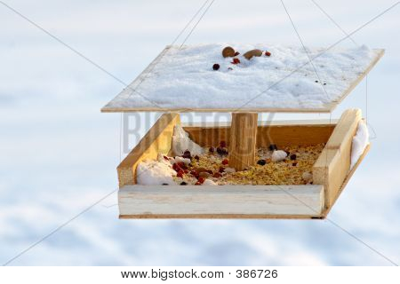 care of birds in the winter - bird's of a feeding trough poster