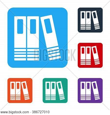 White Office Folders With Papers And Documents Icon Isolated On White Background. Office Binders. Ar