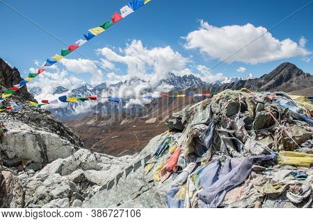 View On The Top Of Cho La Pass Summit (5,420 Metres) In Himalayas. Cho La Pass Due To Stunning Views