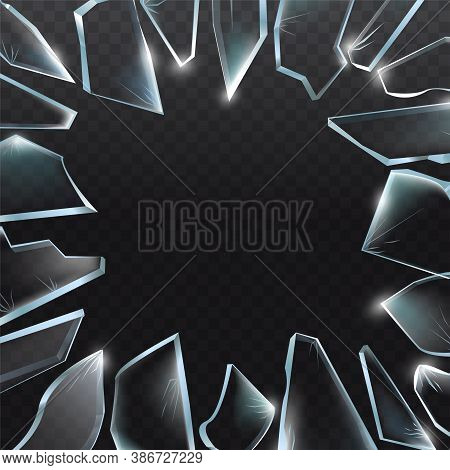 Broken Glass Pieces. Shattered Glass On Black Background. Vector Realistic Illustration
