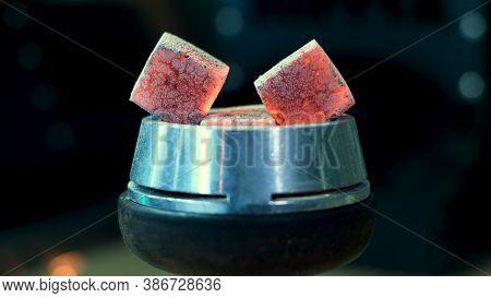 Hookah Hot Coals For Smoking Shisha On A Bowl With Tobacco. Media. Shisha Bowl With Craft Tobacco An