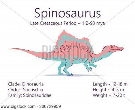 Spinosaurus. Theropoda Dinosaur. Colorful Vector Illustration Of Prehistoric Creature Spinosaurus An