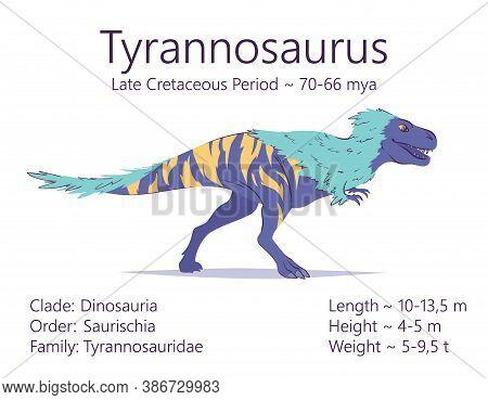 Tyrannosaurus. Theropoda Dinosaur. Colorful Vector Illustration Of Prehistoric Creature Tyrannosauru