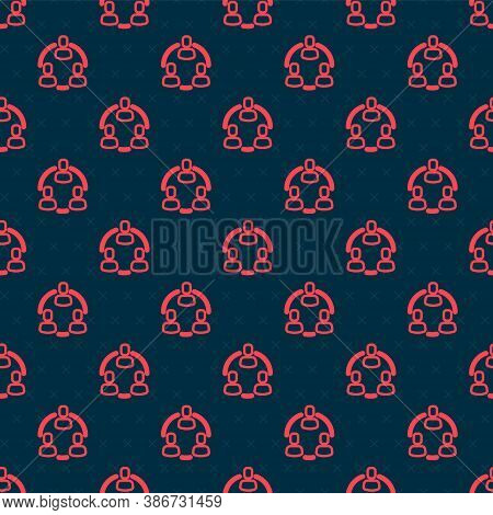 Red Line Project Team Base Icon Isolated Seamless Pattern On Black Background. Business Analysis And