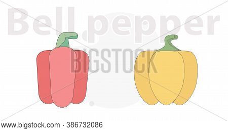 Bell Pepper Red And Yellow Vector Flat Illustration On White Background And Red Chili Pepper