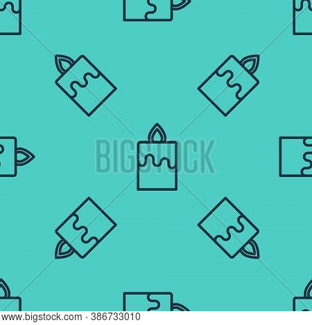 Black Line Burning Candle Icon Isolated Seamless Pattern On Green Background. Cylindrical Aromatic C