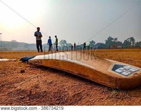District Katni, India - December 02, 2019: Cricket Bat Closeup Shot During Cricket Game Tournament A