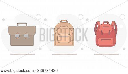 Backpack. Rucksack. Knapsack. Schoolbag. Sack Vector Flat Illustration On White Background