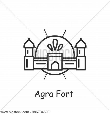 Agra Fort Line Icon. Red Majestic Stone Fortress, Mughal Monument. World Heritage. Indian Landmark.
