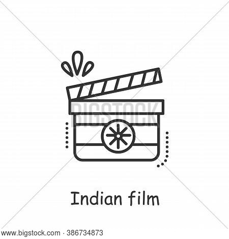 Indian Film Line Icon. Traditional Indian Cinematography. Bollywood. Shadow Clapper Board. Indian He