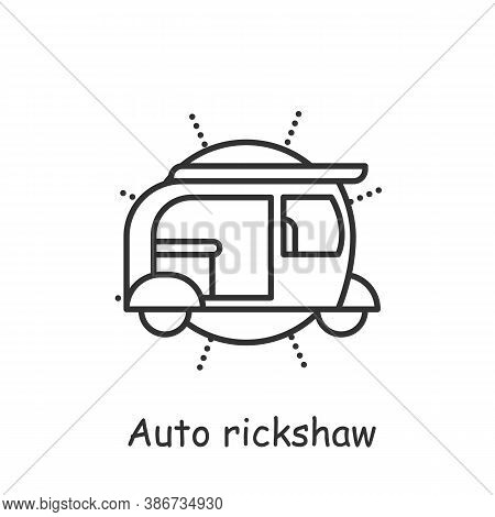 Auto Rickshaw Line Icon. Popular Motorbike Asian Taxi. Delhi City Transport. Tuk-tuk. Indian Heritag