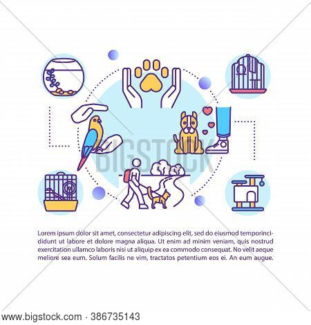 Pets Adoption Concept Icon With Text. Animal Care And Love. Pet Shop. Human And Animal Relationship.