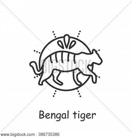 Bengal Tiger Line Icon. Sacral, Totem Animal. Indian National Symbol. Wildlife Protection. Tiger Day