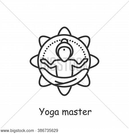 Yoga Master Line Icon. Indian Spiritual Practise. Meditation, Concentration, Practicing. Hatha-yoga.