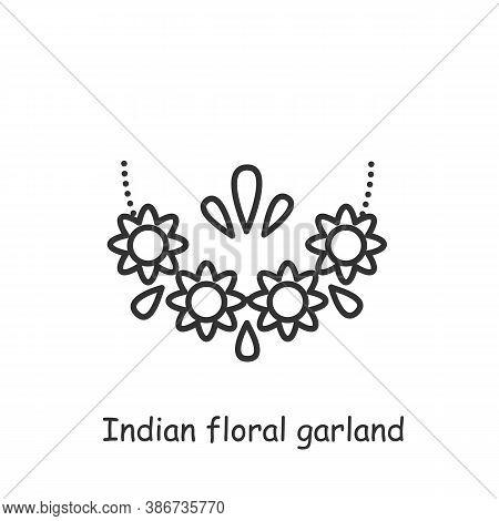 Indian Floral Garland Line Icon. Malai. Religious Festive Decoration. Wedding Decoration. Flower Tor