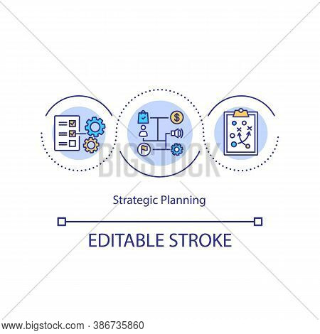 Strategic Planning Concept Icon. Business Strategy Idea Thin Line Illustration. Missions And Actions
