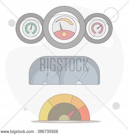 Car Dashboard, Speedometer, Tachometer Vector Flat Illustration On White Background