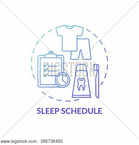 Sleep Schedule Blue Gradient Concept Icon. Rest Regulation. Nighttime Routine. Relaxation Control. H