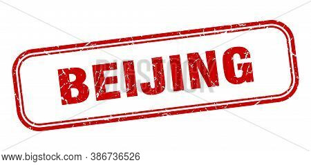 Beijing Stamp. Beijing Red Grunge Isolated Sign