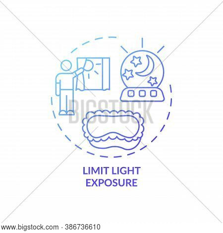 Limit Light Exposure Blue Gradient Concept Icon. Avoid Sunlight Before Bedtime. Nighttime Routine. S