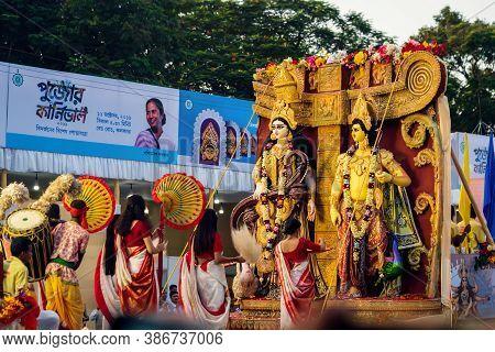 Kolkata, West Bengal, India, October 2020: Saraswati And Kartik Puja Background. People Or Devotees