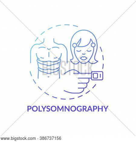 Polysomnography Blue Gradient Concept Icon. Daytime Nap Study. Monitoring Device. Sleep Disorder Tes