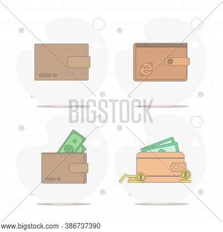 Wallet With Money. Purse Vector Flat Illustration On White Background