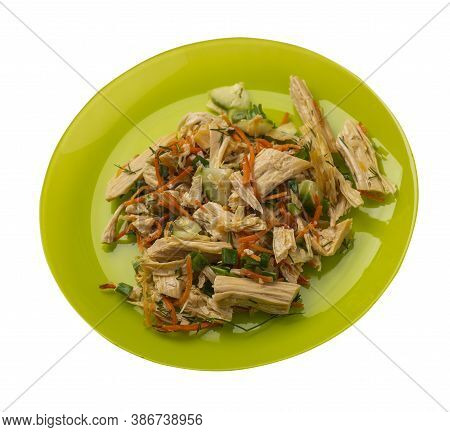 Salad With Soy Asparagus And Carrots, Cucumbers And Dumplings On Lime Plate. Vegetarian Soy Salad On