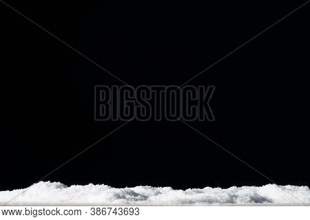 Winter Background. White Snow Pile Isolated On Black Copy Space. Dark Night Sky. Party Invitation. S