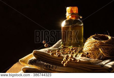 Linseed Oil, Linen Cloth, Rope, And Dry Flax Plants