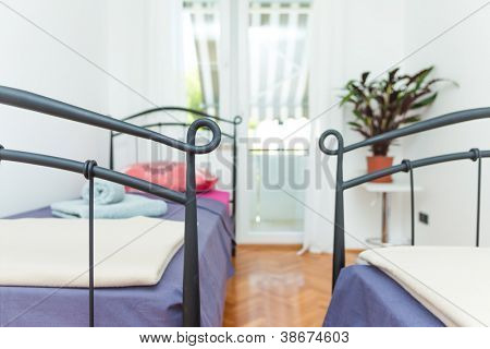 Clean and modern mediterannean bedroon in house poster