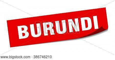 Burundi Sticker. Burundi Red Square Peeler Sign