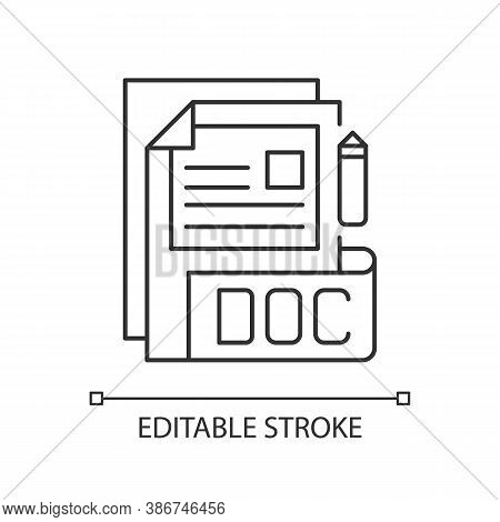 Doc File Pixel Perfect Linear Icon. Document File Format. Word Processing Software. Thin Line Custom