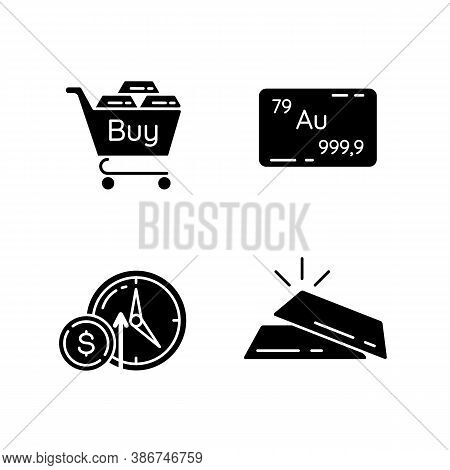 Precious Metals Trade Black Glyph Icons Set On White Space. Buy Golden And Silver Bullion. Industria