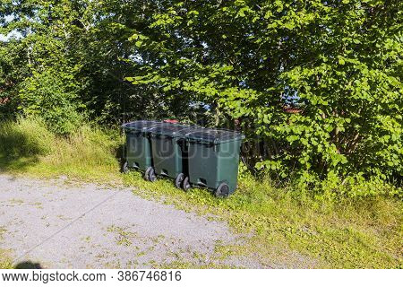 View Of Typical Garbage Containers For Organic And Inorganic Garbage.