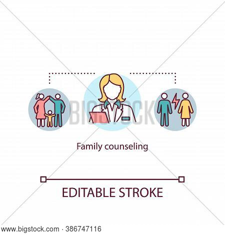Family Counseling Concept Icon. Psychotherapy For Couples Idea Thin Line Illustration. Psychological
