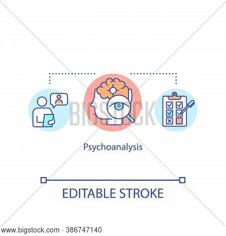 Psychoanalysis Concept Icon. Psychological Assistance, Psychotherapy Idea Thin Line Illustration. Me