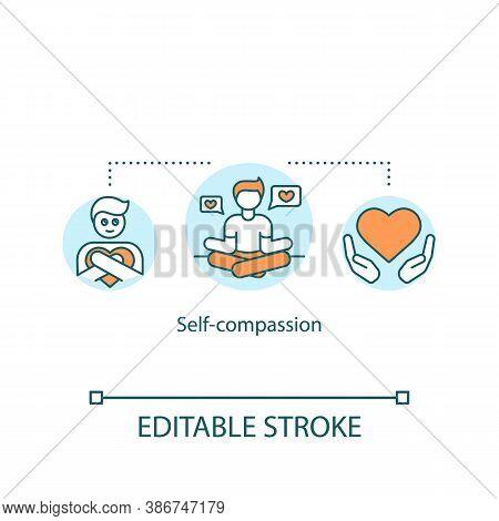 Self Compassion Concept Icon. Psychological Treatment, Psychotherapy Idea Thin Line Illustration. De