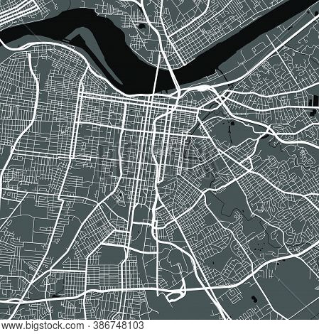 Urban City Map Of Memphis. Vector Illustration, Memphis Map Grayscale Art Poster. Street Map Image W