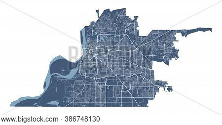 Memphis Tennessee Map. Detailed Vector Map Of Memphis City Administrative Area. Cityscape Poster Met